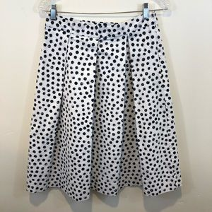 Who What Wear Polk Dot Pleated Skirt, Size 6